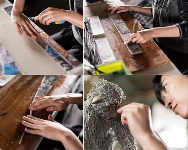 Скульптуры из газет от художницы Chie Hitotsuyama