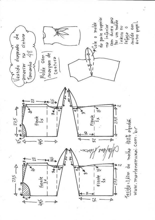 Выкройка платья с узлом сбоку (все размеры!)