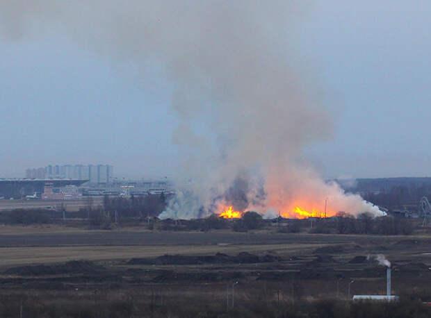 МЧС отчиталось о ликвидации огня на Волхонском шоссе, но горожане продолжают присылать его фото
