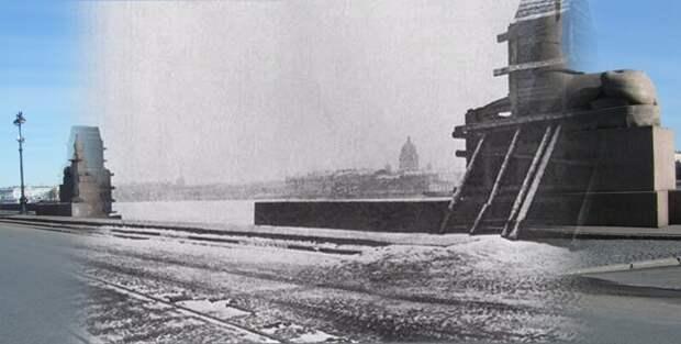 Ленинград 1942-2009 Университетская набережная. Сфинксы укрытые от осколков блокада, ленинград, победа