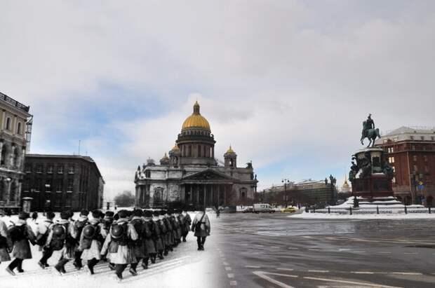 Ленинград 1942-2010 Исаакиевская площадь. Бойцы в полушубках с касками ПВО блокада, ленинград, победа