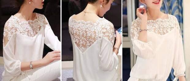 Блуза с кружевными плечами и кокеткой