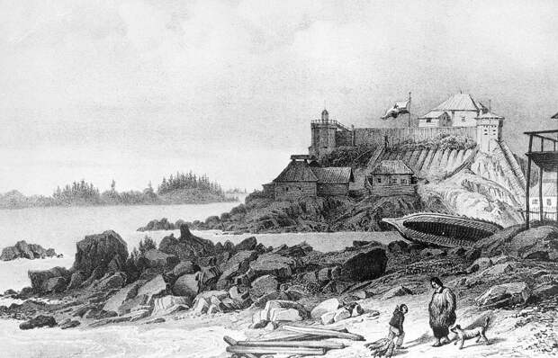 Русское поселение на Аляске. Гравюра середины XVIII века
