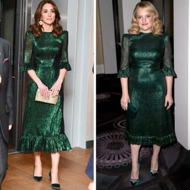 кейт миддлтон и элизабет мосс в зеленом платье