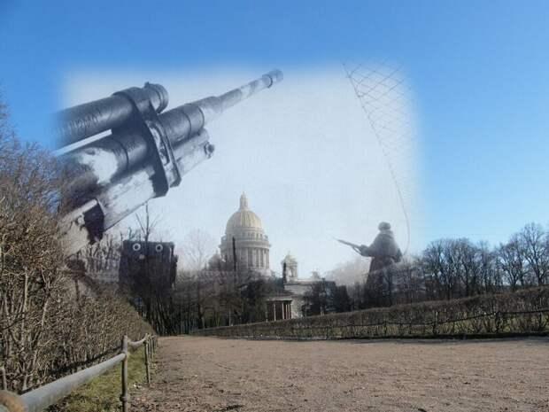 Ленинград 1942-2009 Площадь Декабристов. Зенитное орудие блокада, ленинград, победа