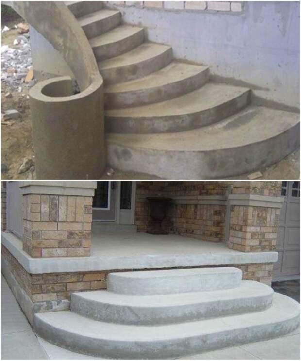 Крыльцо из бетона может быть любой формы.   Фото: vest-beton.ru.