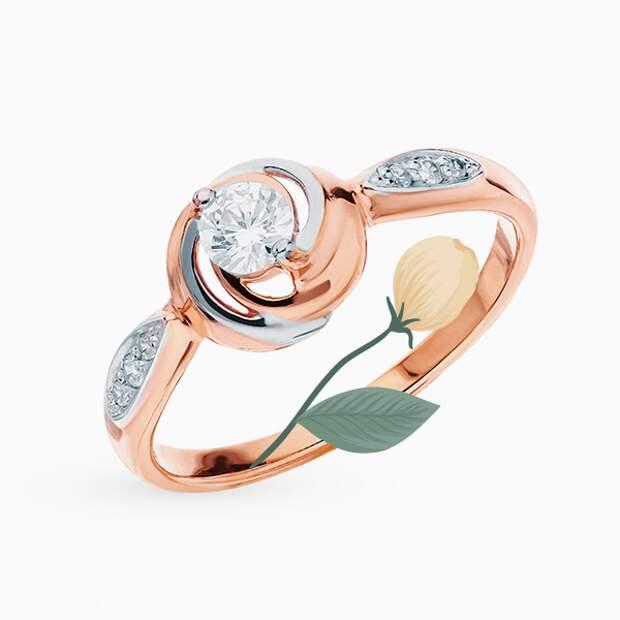 Кольцо Sokolov, розовое золото, фианиты