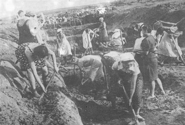 Жительницы Ленинграда роют противотанковый ров.