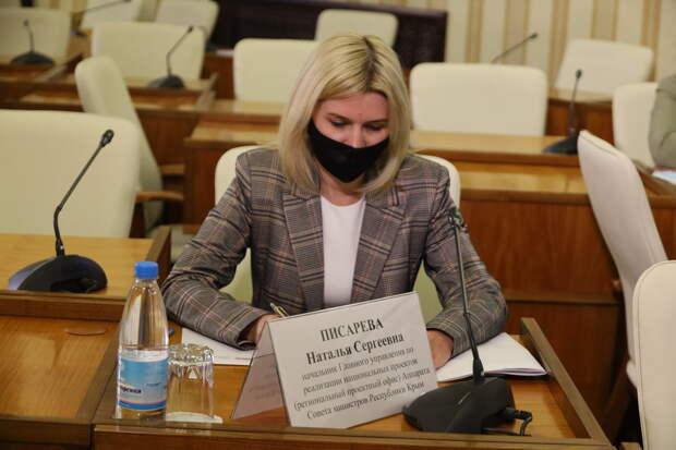 Руководитель регионального проектного офиса Наталья Писарева представила информацию о реализации национальных проектов в Крыму
