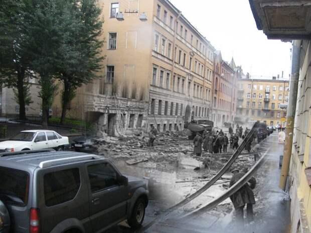 Ленинград 1941-2009 Дмитровский переулок. Сквер на месте разрушенного дома блокада, ленинград, победа