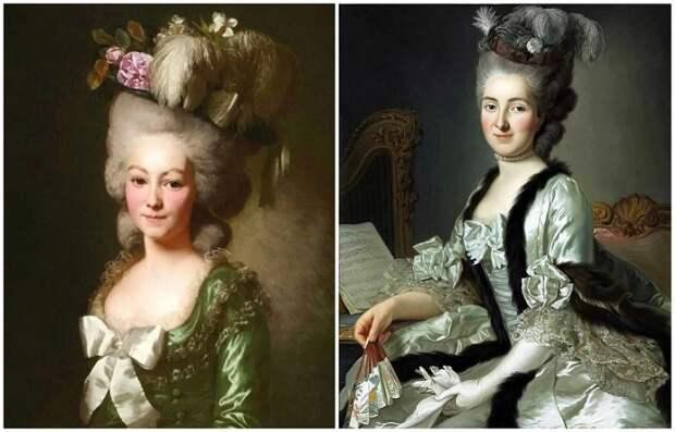 Слева - Мария Антуанетта с модной высокой прической
