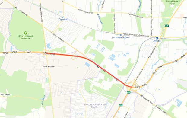 На КАД между Таллинским и Красносельским шоссе перекроют две полосы из трех