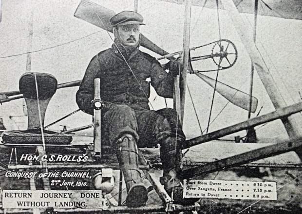 Открытка, запечатлевшая рекордное достижение Чарльза Роллса rollce-royce, авиация, авто, автоистория, история, летчик, факты, чарльз роллс
