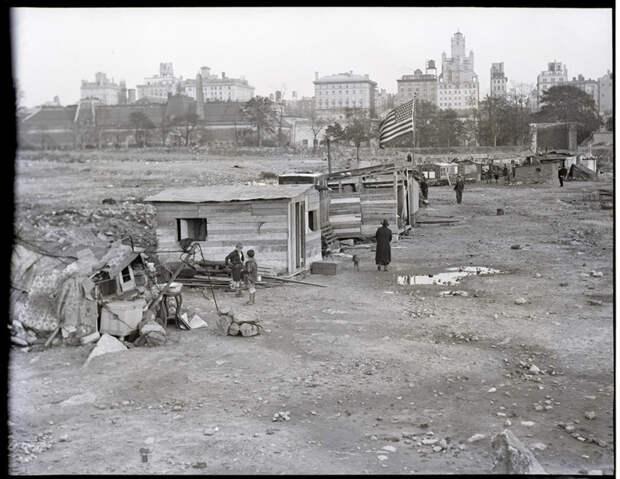 21. Гувервилль в Центральном парке Нью-Йорка, где жили многие семьи во время Великой депрессии история, мир, фотография