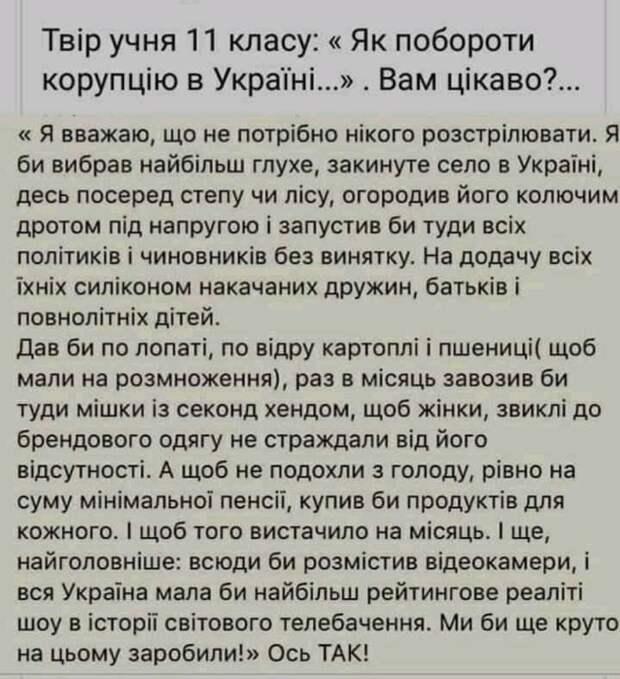 Сочинение украинского старшеклассника «Как побороть коррупцию» вызвало скандал на Украине