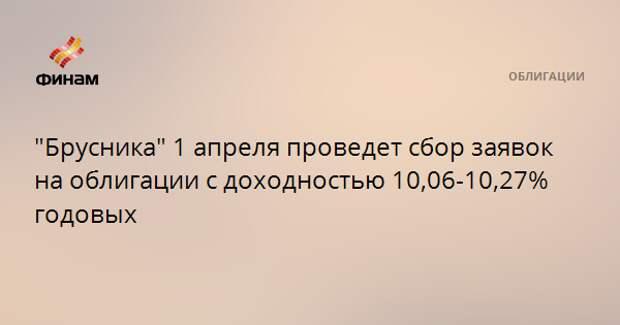 """""""Брусника"""" 1 апреля проведет сбор заявок на облигации с доходностью 10,06-10,27% годовых"""