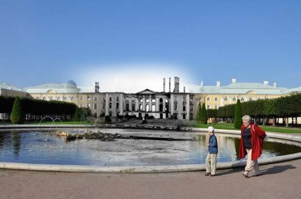 Петергоф 1943-2011 Фонтан Дубовый блокада, ленинград, победа
