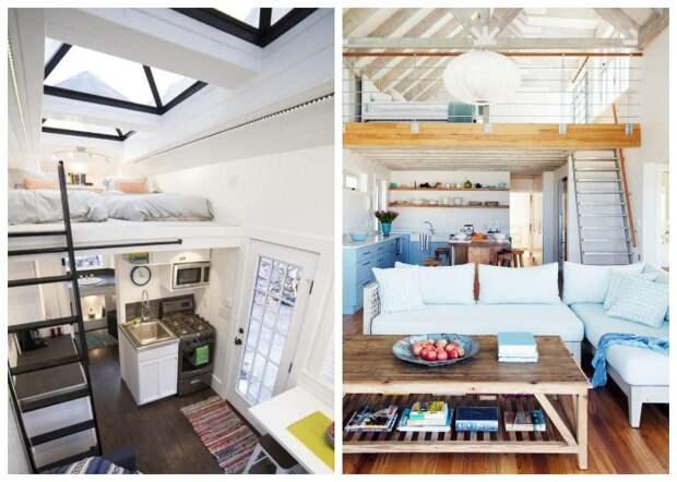 Окна украсят интерьер всего крошечного домика и создадут особую зону отдыха на втором ярусе. | Фото: roomble.com.
