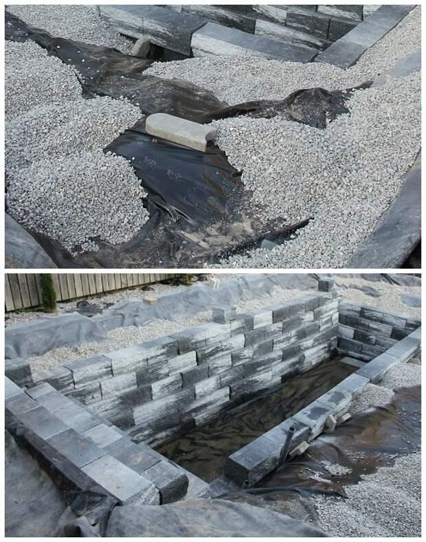 Всю прилегающую площадь засыпали гравием, а стены котлована облицевали декоративными гранитными блоками. | Фото: klubstroitelei.com.