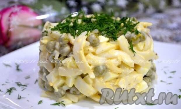 Салат из кальмаров и зеленого горошка