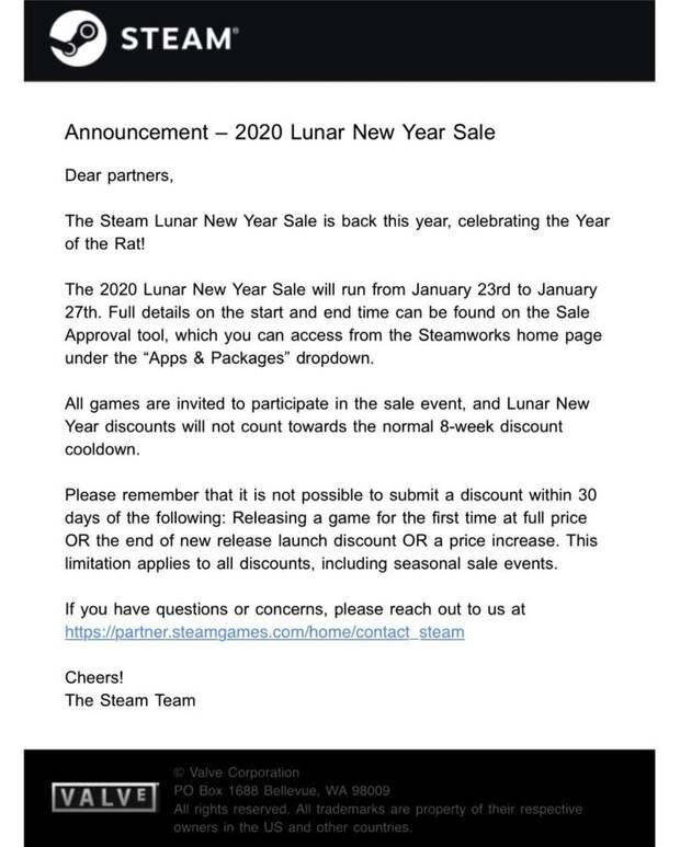 Стала известна дата начала Лунной Распродажи в Steam