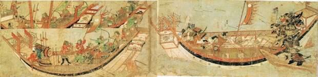 Трое братьев Ояно, взявшие вместе с Такэдзаки Суэнага вражеский корабль на абордаж, вступают в поединок с монгольскими воинами. Фрагмент «Свитка о монгольском вторжении», 1293 год - История в цитатах: «Если ты будешь плакать, то с гор придут монголы…» | Военно-исторический портал Warspot.ru