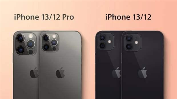 Отличия iPhone 13 от iPhone 12 наглядно. Смартфоны Apple двух поколений показали на сравнительных изображениях
