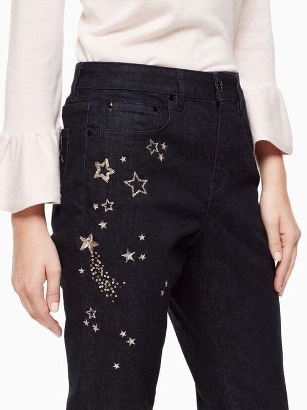 джинсы с вышивкой звезды
