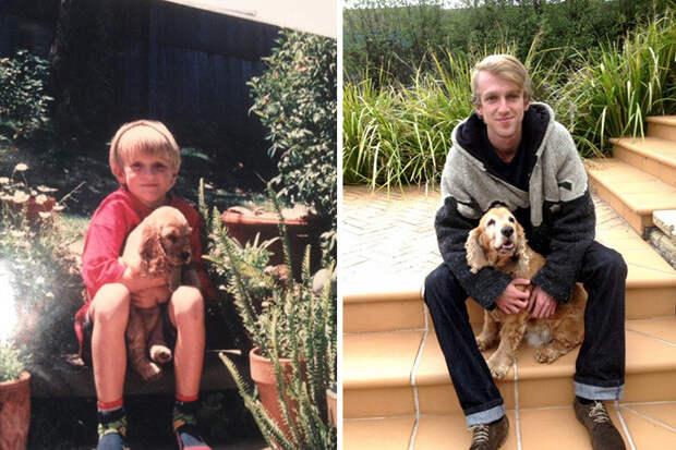 Саша и я. Тогда и теперь до и после, друзья, собаки, фото