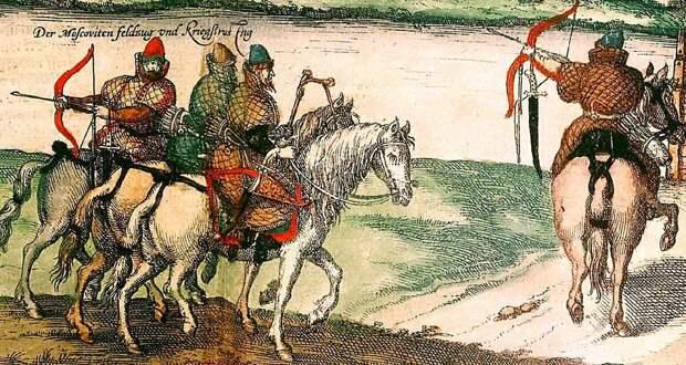Боевые холопы. Иллюстрация из плана Москвы, составленного Сигизмундом Герберштейном, 1556 г.