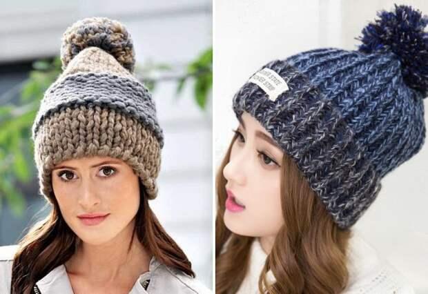 шапка крупной вязки с помпоном