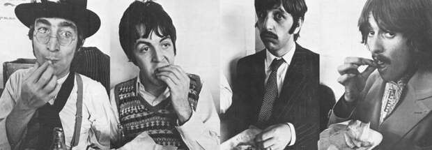 The Beatles едят фиш-энд-чипс. <br>
