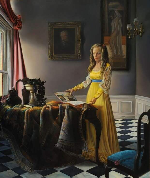 Часто художник использует работы голландцев семнадцатого века, вот так например в картине Лицо света художник поместил фигуру явно современную женщины в старинном платье с современным альбомом на столе.