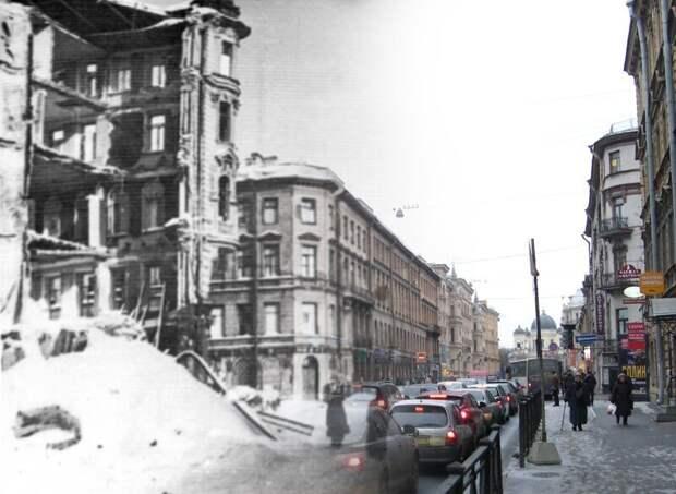 Ленинград 1943-2009 Разрушенный дом на углу улиц Пестеля и Моховой блокада, ленинград, победа