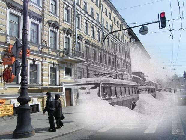 Ленинград 1942-2009 Невский 182. Замерзшие троллейбусы блокада, ленинград, победа