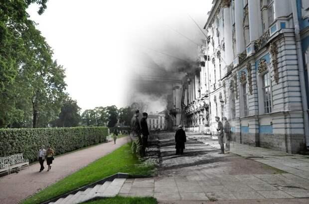 Пушкин 1941-2011 Екатерининский дворец. Гитлеровцы у горящего дворца блокада, ленинград, победа