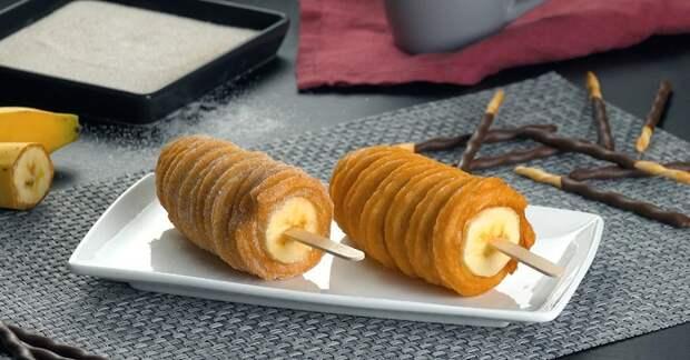 Хрустящие бананы в сладком заварном тесте: интересный десерт