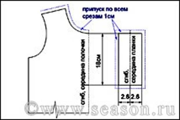 Выкройка застежки поло