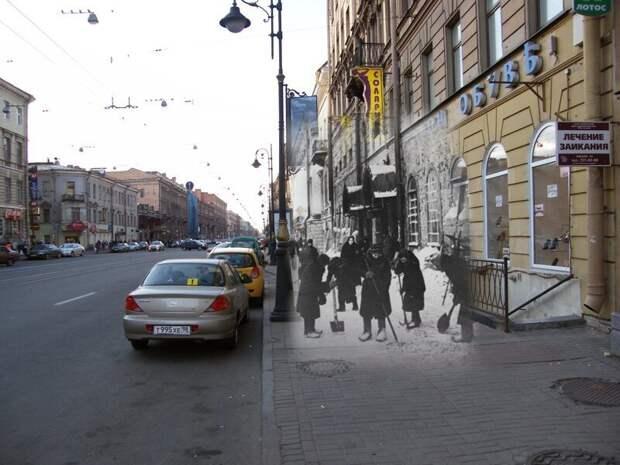 Ленинград 1942-2009 Владимирский проспект14. Уборка снега блокада, ленинград, победа