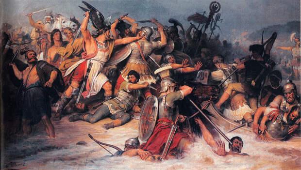Бой римлян с германцами.