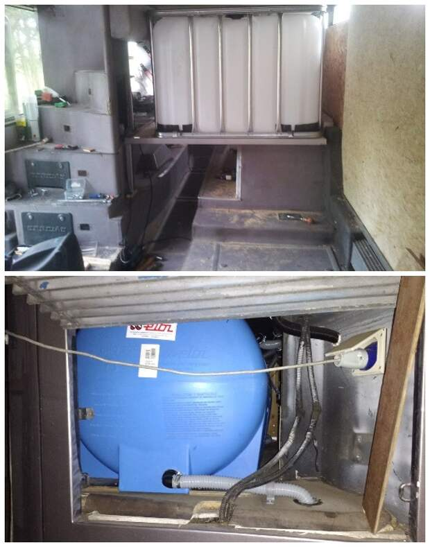 Для обеспечения дома на колесах водой поставили бак на 600 литров и септик для переработки отходов жизнедеятельности. | Фото: photos.google.com.