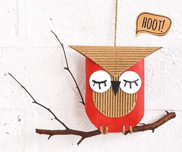 Осенний декор из картона и веток
