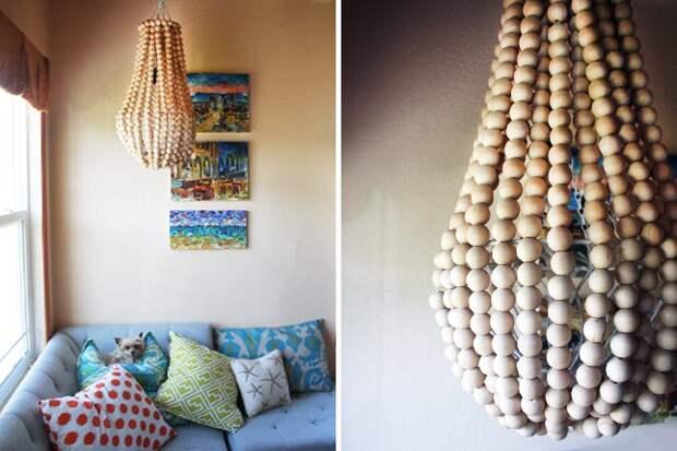 Деревянные бусины в дизайне интерьера