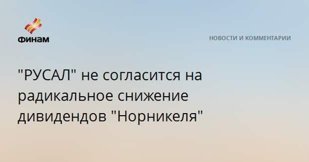 """""""РУСАЛ"""" не согласится на радикальное снижение дивидендов """"Норникеля"""""""