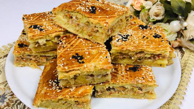 Фото к рецепту: Пирог с мясом и картошкой