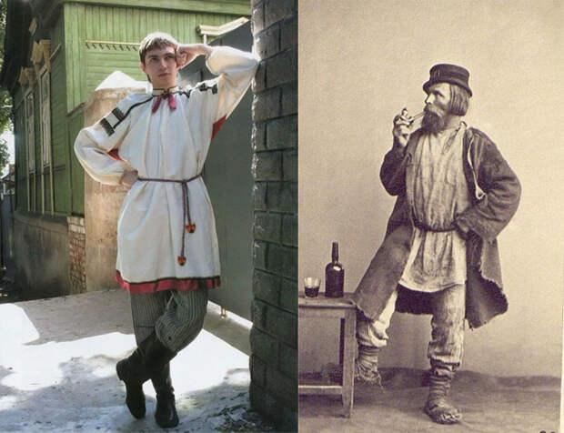 Мужской народный костюм. Современное фото и историческая фотография.
