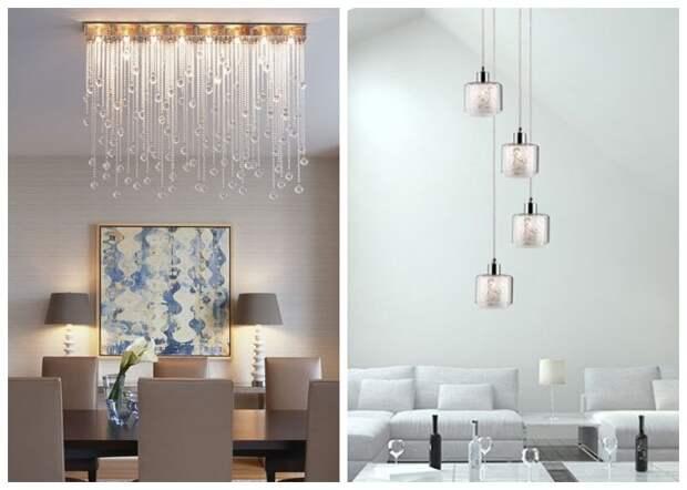 Несколько изящных маленьких светильников выглядят более органично в современном интерьере комнат любых габаритов.
