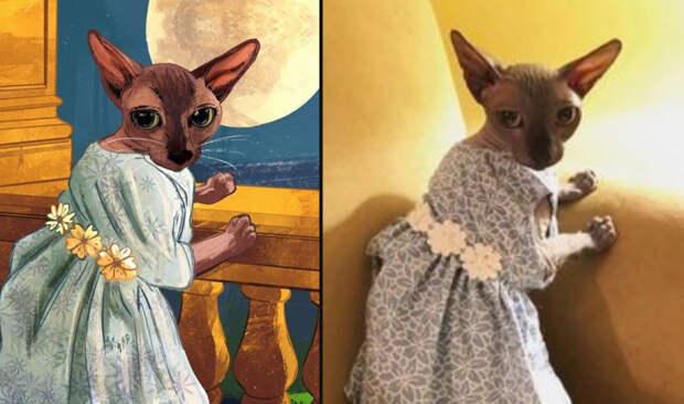 67-я нарисованная кошечка и её фото (справа).