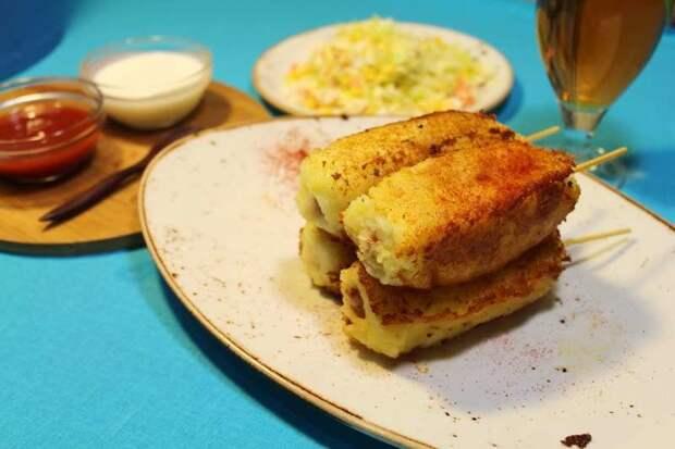Сосиски в картофельном тесте Закуски, еда, кулинария, пюре, рецепт, сосиски, сосиски в пюре