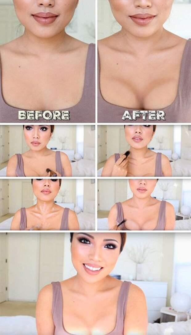 Секреты контурирования: Как увеличивают грудь, «качают» пресс и делают волосы гуще с помощью макияжа